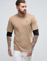 Religion T-Shirt With Layered Sleeve - Beige