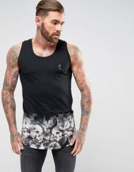 Religion Vest With Floral Skull Dip Dye Printed Hem - Black