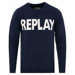 Replay Crew Neck Logo Sweatshirt Navy
