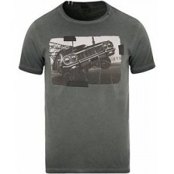Replay M3402 Printed Car Crew Neck Tee Black