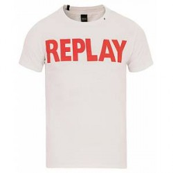 Replay M3471 Logo Crew Neck Tee Opitcal White