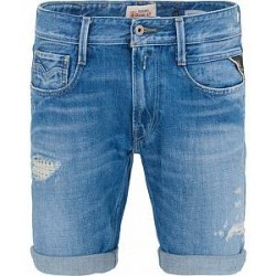 Replay MA996R Shredded Jeans Shorts Light Blue