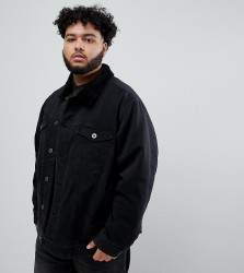 Replika Plus denim jacket in black with borg collar - Black