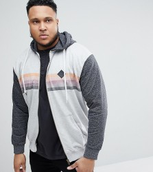 Replika Plus Hoodie With Chest Stripe and Contrast Sleeves - Grey