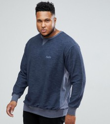 Replika PLUS Sweatshirt With Logo And Colour Block In Blue - Blue