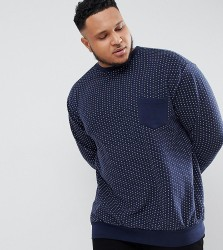 Replika Plus Sweatshirt With Spot Print And Contrast Pocket - Navy