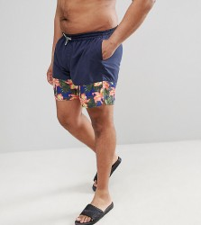 Replika Swim Short With Floral Panel - Navy