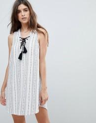 Rhythm Beach Panama Stripe Dress - White