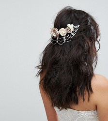 Ribbon & Asher Rose and Rhinestone Drape Back Head Piece - Gold