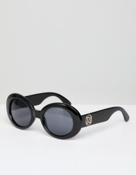River Island 90s Oval Sunglasses - Black