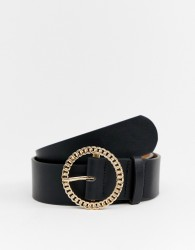 River Island belt with chain buckle in black - Black