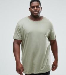 River Island Big and Tall Curve Hem T-Shirt In Olive - Green