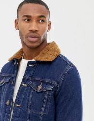 River Island borg lined denim jacket in blue - Blue