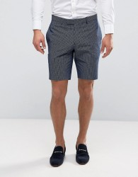 River Island Check Suit Shorts In Navy - Navy
