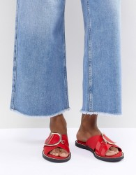 River Island D Ring Sliders - Red
