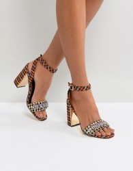 River Island Dogstooth Block Heel With Gem Detail - Multi