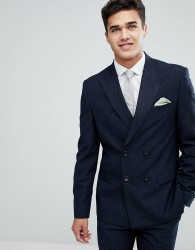 River Island Double Breasted Suit Jacket In Navy - Navy