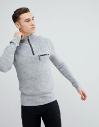 River Island Funnel Neck Jumper With Zip Detail In Grey - Grey