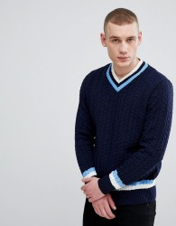 River Island Knitted V- Neck Jumper In Navy - Navy