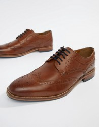 River Island Leather Brogues In Light Brown - Brown