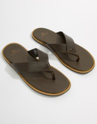 River Island Leather Flip Flop In Brown - Brown