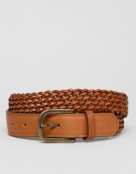 River Island Leather Woven Belt In Brown - Brown