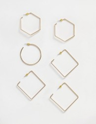 River Island mixed hoop pack in gold - Gold