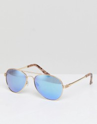 River Island Ocean Lense Aviator Sunglasses - Gold