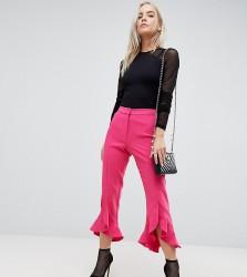 River Island Petite Frill Hem Tailored Trousers - Pink