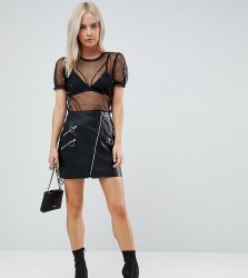 River Island Petite Leather Look Zip Detail Mini Skirt - Black