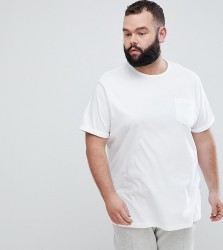 River Island PLUS T-Shirt With Roll Sleeve In White - White