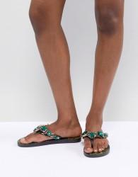 River Island Printed Embellished Flip Flops - Black