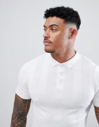 River Island Ribbed Knitted Polo In White - White