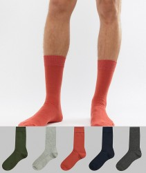 River Island Ribbed Socks In Warm Multi Colours 5 Pack - Multi