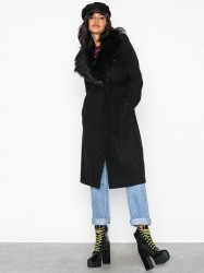 River Island Robe Fur Collar Coat Frakker Black