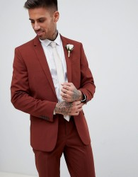 River Island skinny fit suit jacket in rust - Red