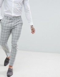 River Island Skinny Fit Suit Trousers In Grey Check - Grey