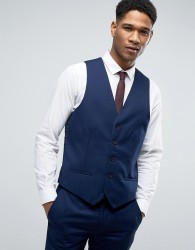 River Island Skinny Fit Suit Waistcoat In Navy - Navy