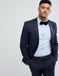 River Island Skinny Fit Tuxedo Jacket In Navy And Black - Navy