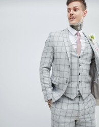 River Island Skinny Suit Jacket In Grey Check - Grey