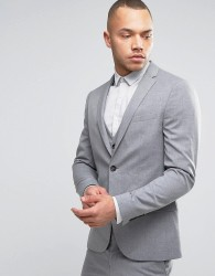 River Island Skinny Suit Jacket In Grey - Grey