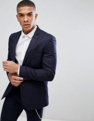 River Island Skinny Suit Jacket In Navy Pinstripe - Navy