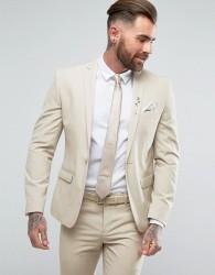River Island Skinny Suit Jacket In Stone - Beige