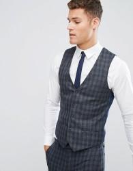 River Island Skinny Suit Waistcoat In Dark Grey Check - Grey