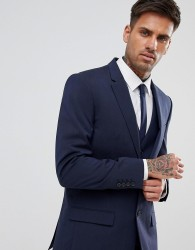 River Island Slim Suit Jacket In Dark Blue - Blue