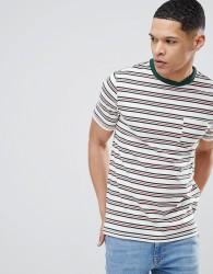 River Island Stripe T-Shirt In White - White