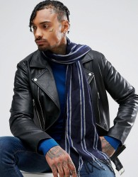 River Island Striped Scarf In Navy - Navy