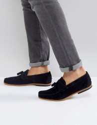 River Island Suede Loafer With Tassel In Navy - Navy