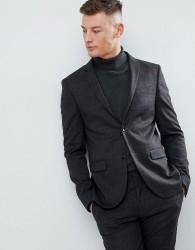 River Island Super Skinny Suit Jacket In Dark Grey Check - Grey