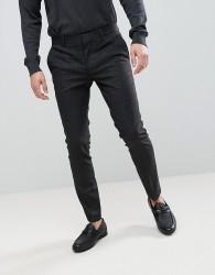 River Island Super Skinny Suit Trousers In Dark Grey Check - Grey